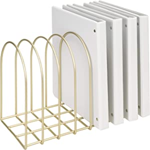 MyGift Vintage Brass Toned Metal Wire Arch Desktop 8-Slot File Folder Rack