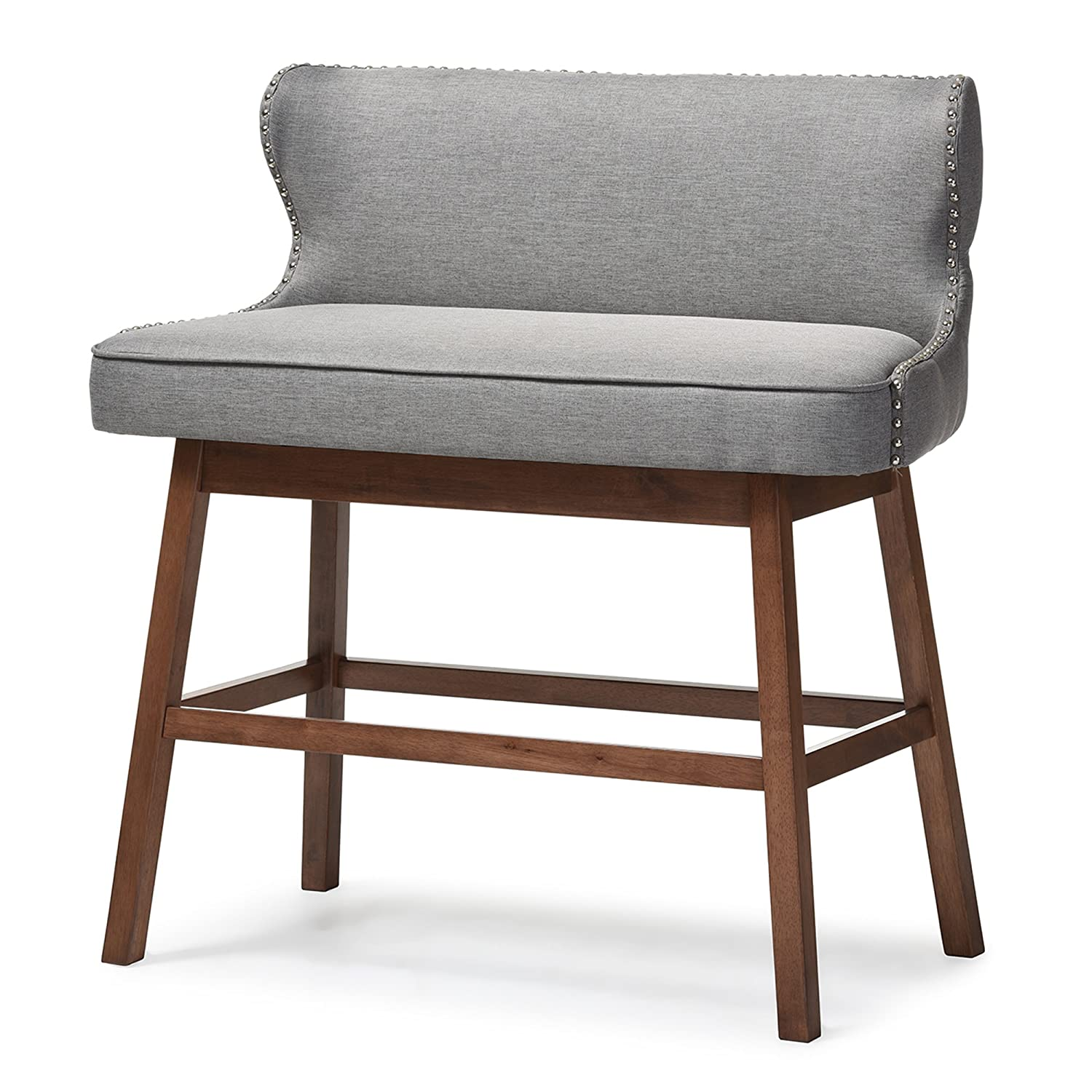 Baxton Studio Gradisca Modern U0026 Contemporary Fabric Button Tufted  Upholstered Banquette Bar Bench, ...
