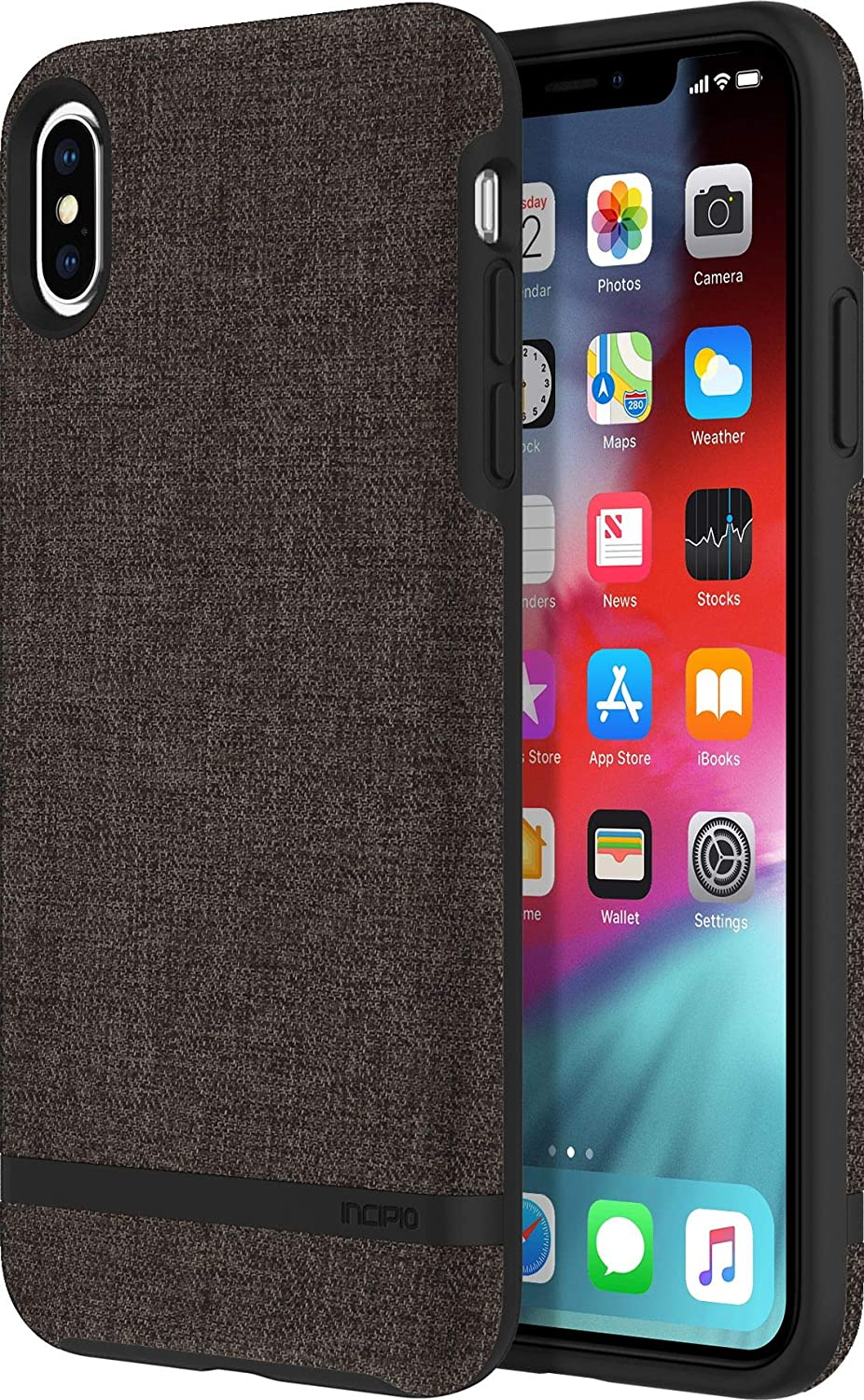 """Incipio Carnaby Stylish Slim Protective Case for iPhone Xs Max (6.5"""") with Soft Premium Fabric and Anti-Slip Grip - Gray"""