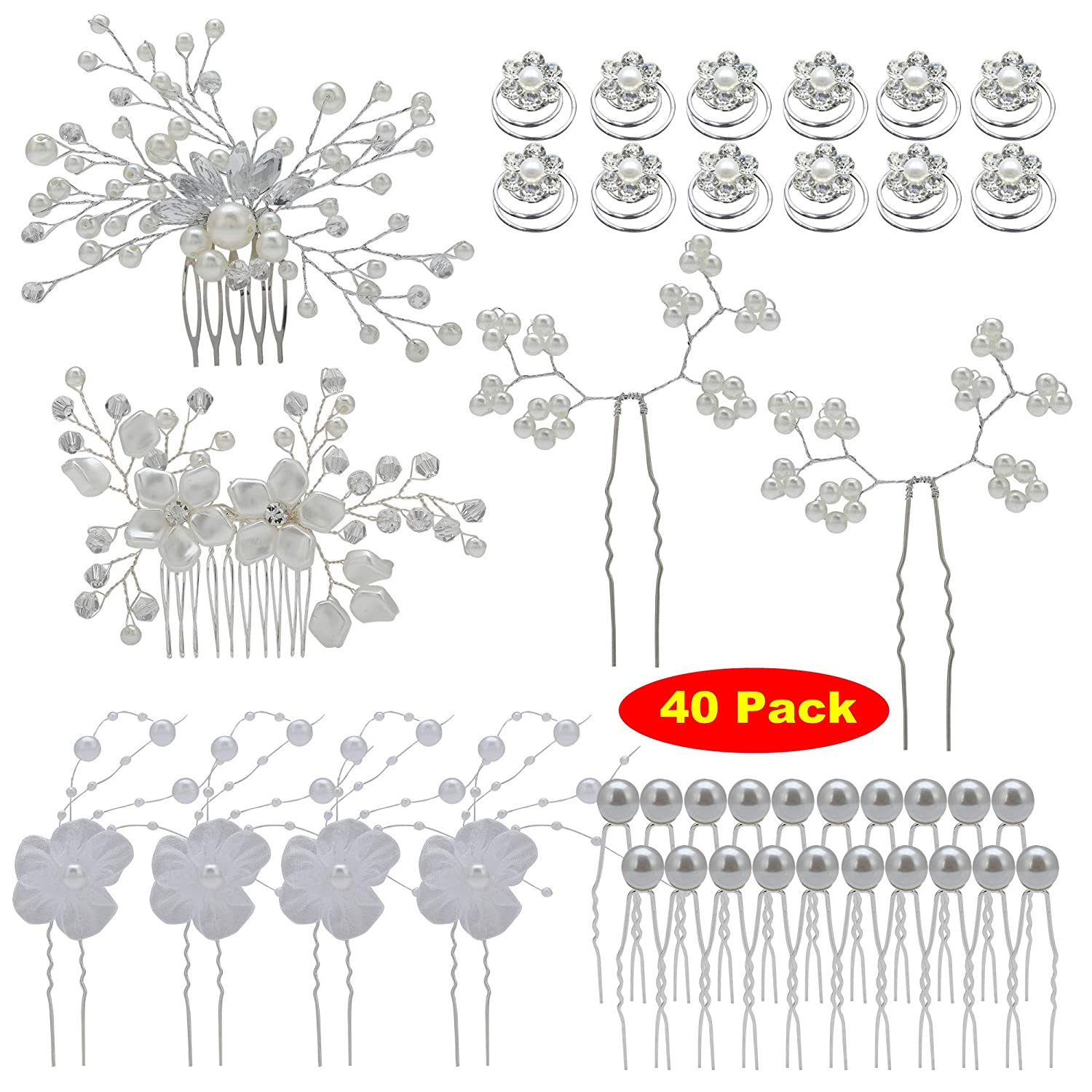 inSowni 40 Pack Bridal Wedding Hair Side Combs+U Shaped Hair Pins Clips Pieces Jewelry Rhinestone Pearl Flower Accessories for Women Brides Girls