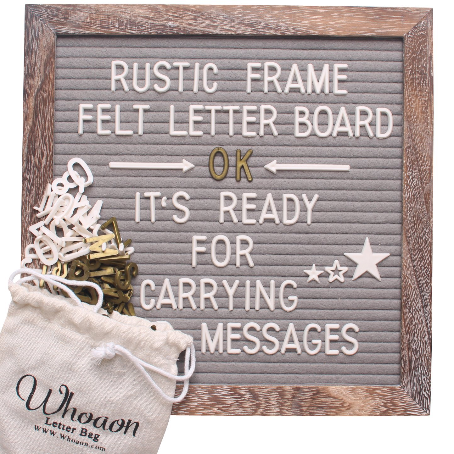 Rustic Frame Gray Felt Letter Board 10 x 10 inches. 296 White & 145 Gold Plastic Letters + 12 Month & 7 Week Day Letters. Vintage-Processed Pine Wood Frame. by whoaon whoawhoa