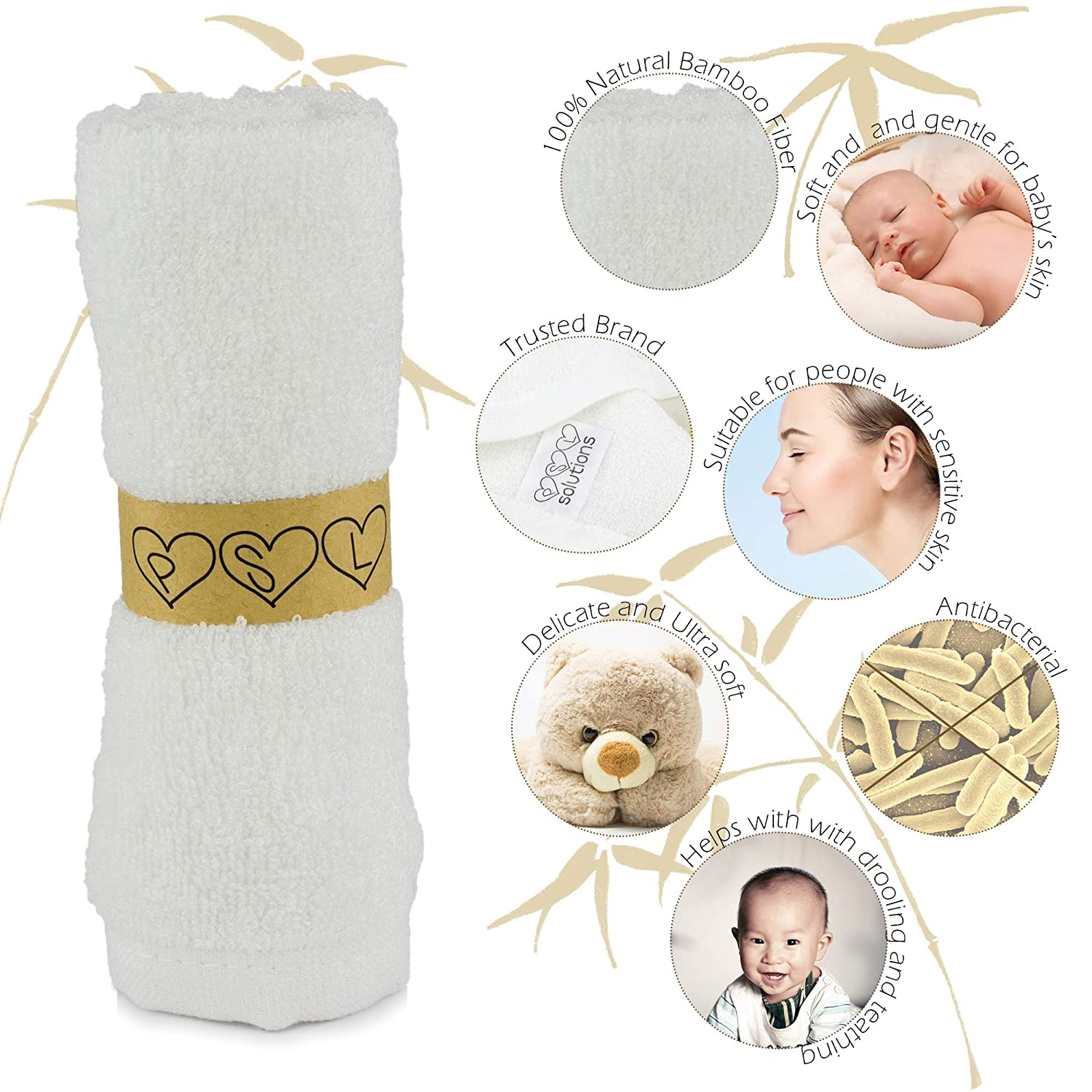 Perfect Baby Shower Gift by PSL Solutions Premium Quality Ultra Soft Luxury Baby Bath Towel Set Suitable for Sensitive Skin PSL Naturally Organic Bamboo Washcloths