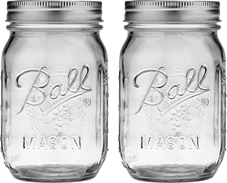 Ball Pint Glass Mason Jars 16 oz Lid Band Regular Mouth Set of 12 Fresh Drinks