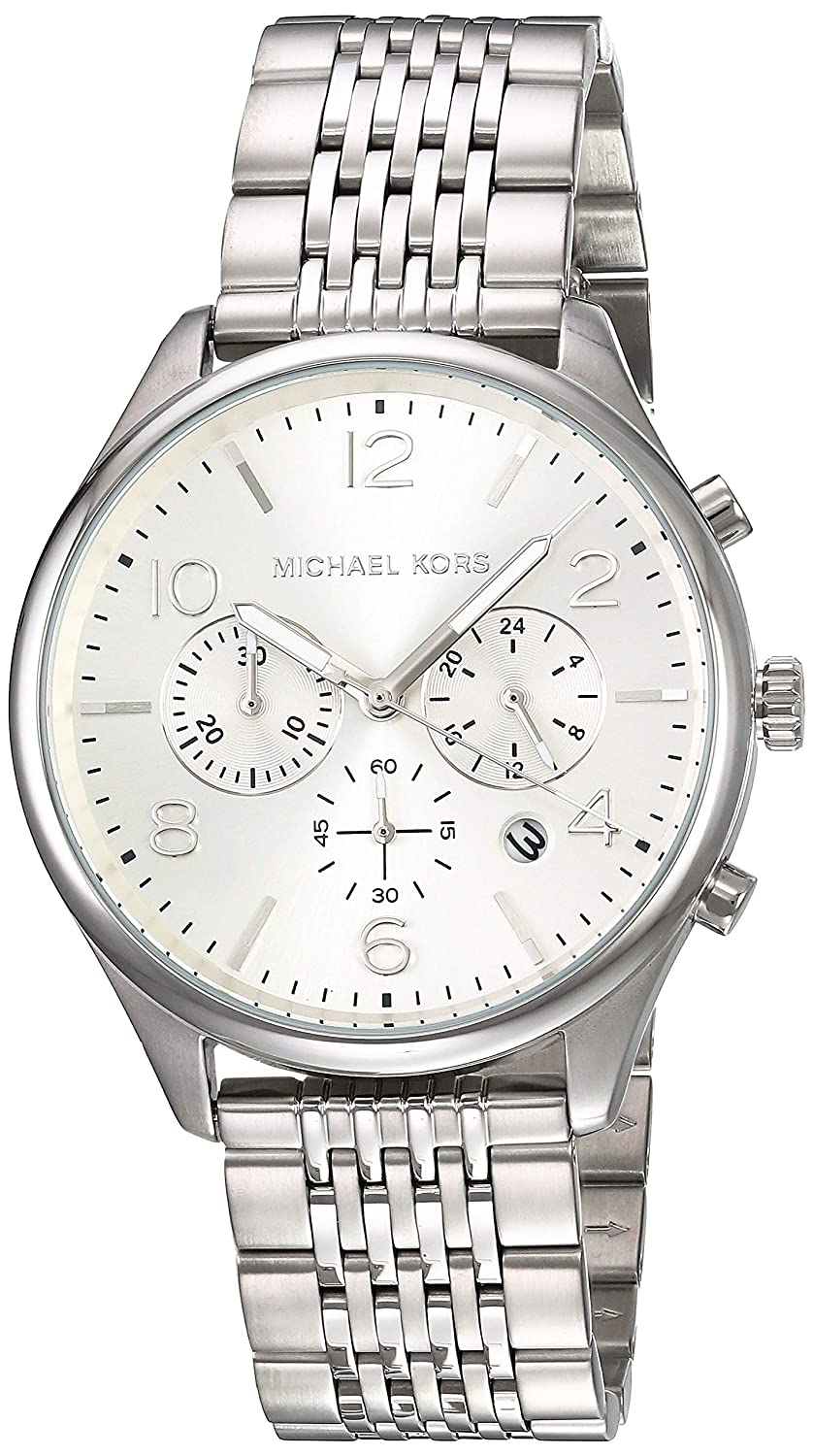 Amazon.com: Michael Kors Mens Merrick Watch, 42mm, Silver, One Size: Michael Kors: Watches