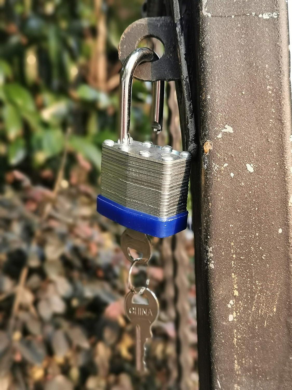 40mm Keyed Alike Laminated Steel Lock 1-9//16-inch Pin Tumbler Padlock with Hardened Short Shackle with Two Steel Keys 3packs
