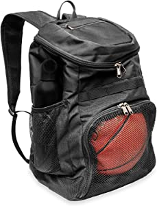Xelfly Basketball Backpack with Ball Compartment – Sports Equipment Bag for Soccer Ball, Volleyball, Gym, Outdoor, Travel, School, Team – 2 Bottle Pockets, Includes Laundry or Shoe Bag – 25L