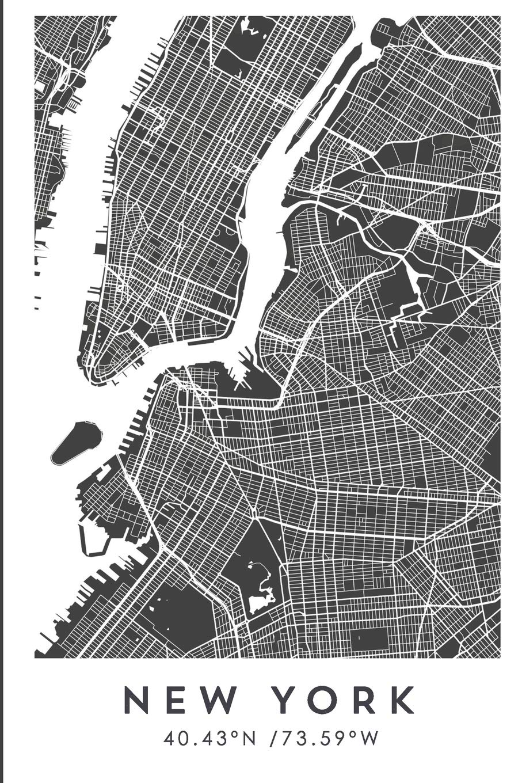 NEW YORK 40.43ºN /73.59ºW: Cuaderno de viaje. Diario, bullet journal, bujo, Diseñado en Barcelona, cuaderno (CITY MAPS) por Wanderty