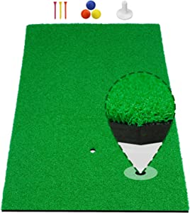 "[Upgraded Version] Timeina 20""x 31"" Golf Practice Hitting Mat with Tee Balls, Pro Foam Turf Golf Mat Pad for Indoor Outdoor Chipping Driving Range Target Swing Aids, Portable Hitting Mats"