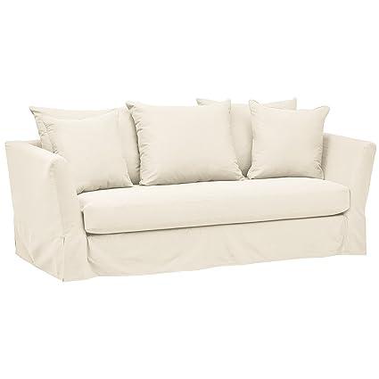 Brilliant Stone Beam Bartow Living Room Loveseat Sofa With Slipcover 86W Natural Creativecarmelina Interior Chair Design Creativecarmelinacom