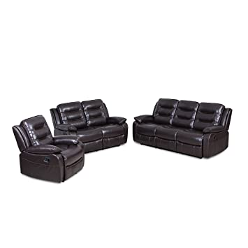 Juntoso 3 Pieces Manual Recliner Sofa Sets Air Leather For Living Room Lounge Loveseat Reclining Couch Brown