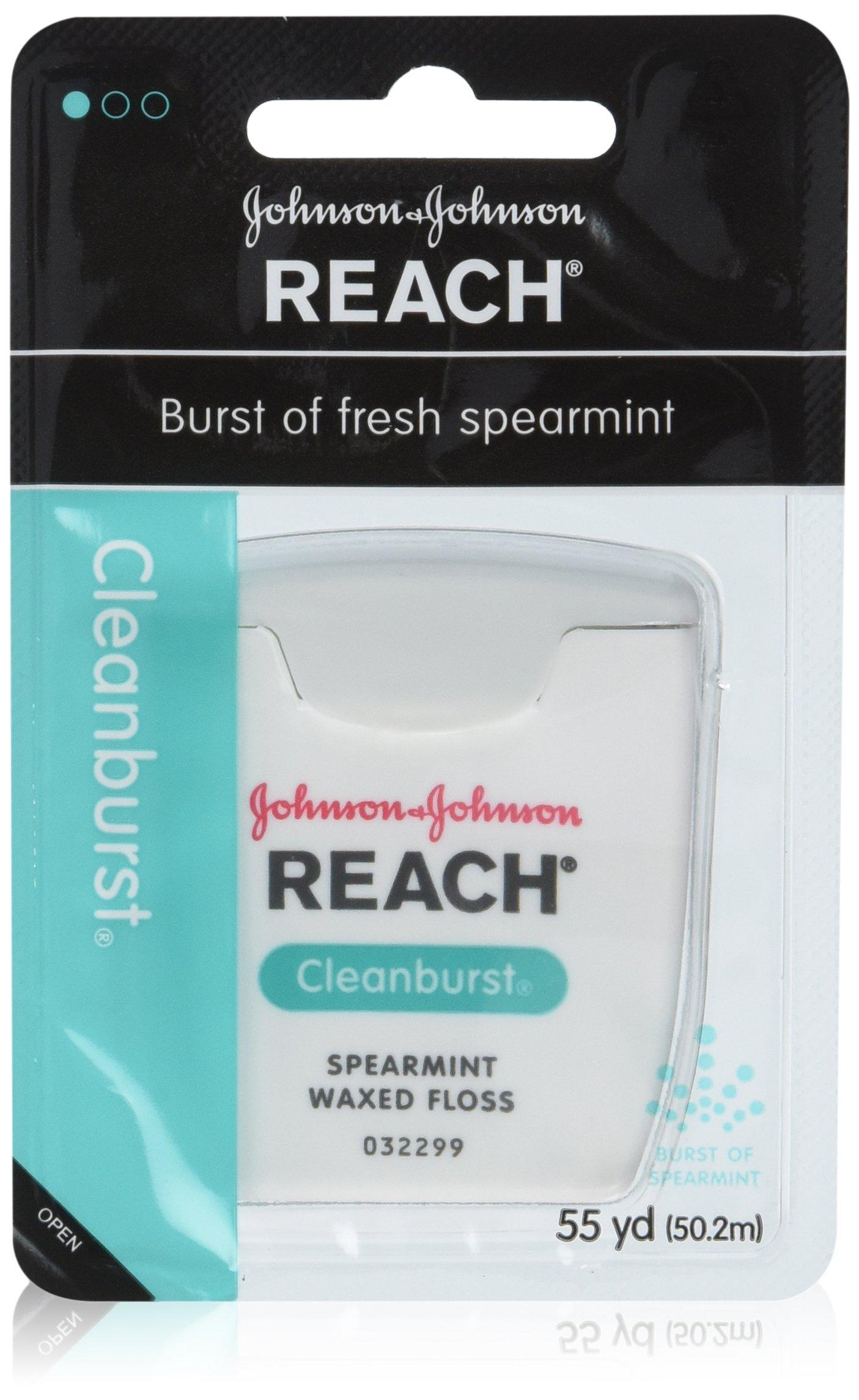 REACH Cleanburst Waxed Dental Floss, Spearmint 55 Yards (Pack of 6)