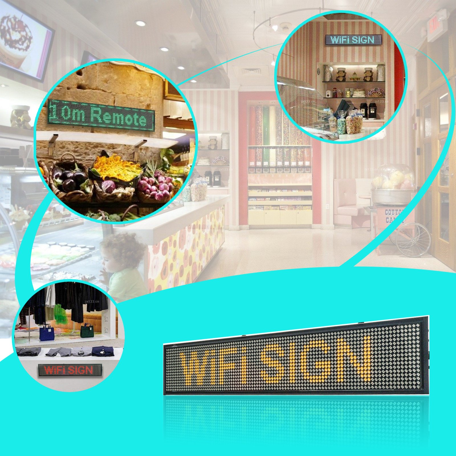 Leadleds P5 Wifi Scrolling LED Sign Display Board for Business, Working with Smartphone and Tablet( Blue )