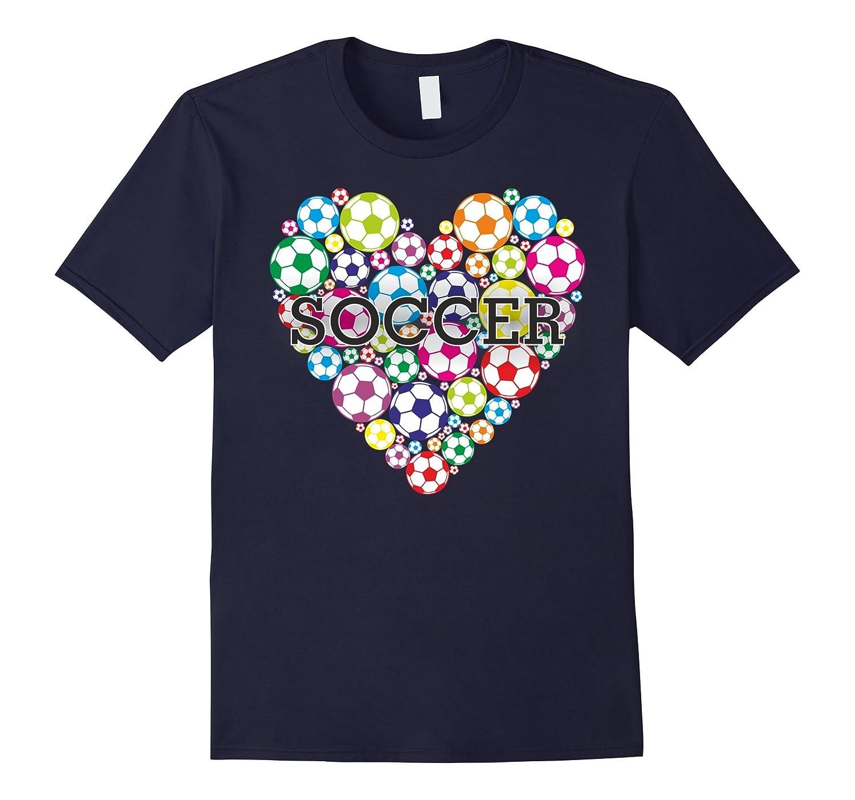 Soccer T Shirt I Love Heart Soccer Football tees-BN