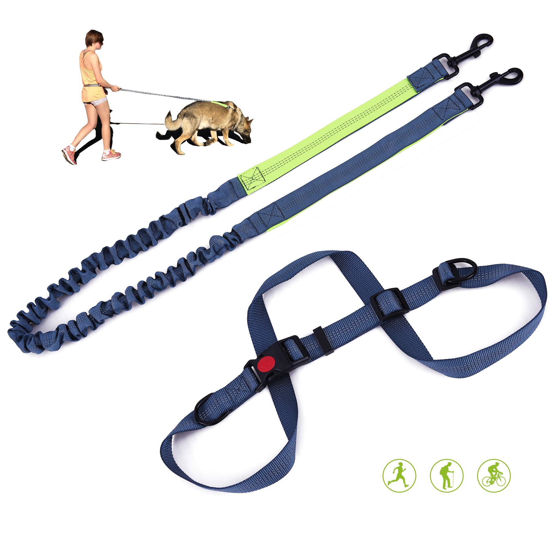 Hands Free Dog Leash with Pouch, Comfortable Dog Leash for Running Walking & Jogging, Great for Medium & Large Dogs Reflective Stitches, Adjustable Belt.(Green) by Doggo Woggo (Image #1)
