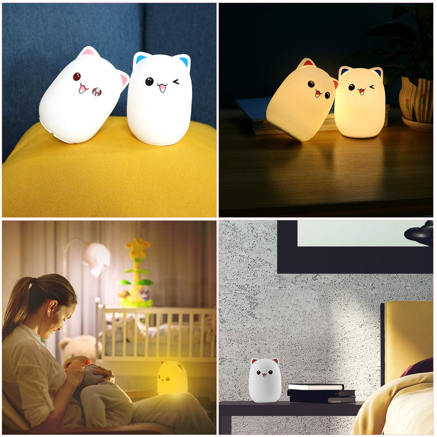 Amazon.com: Cute Cat LED Nursery Night Light for Kids ...