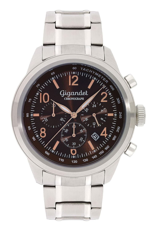Gigandet Quarz Herren-Armbanduhr Journey Chronograph Uhr Datum Analog Edelstahlarmband Braun G25-003