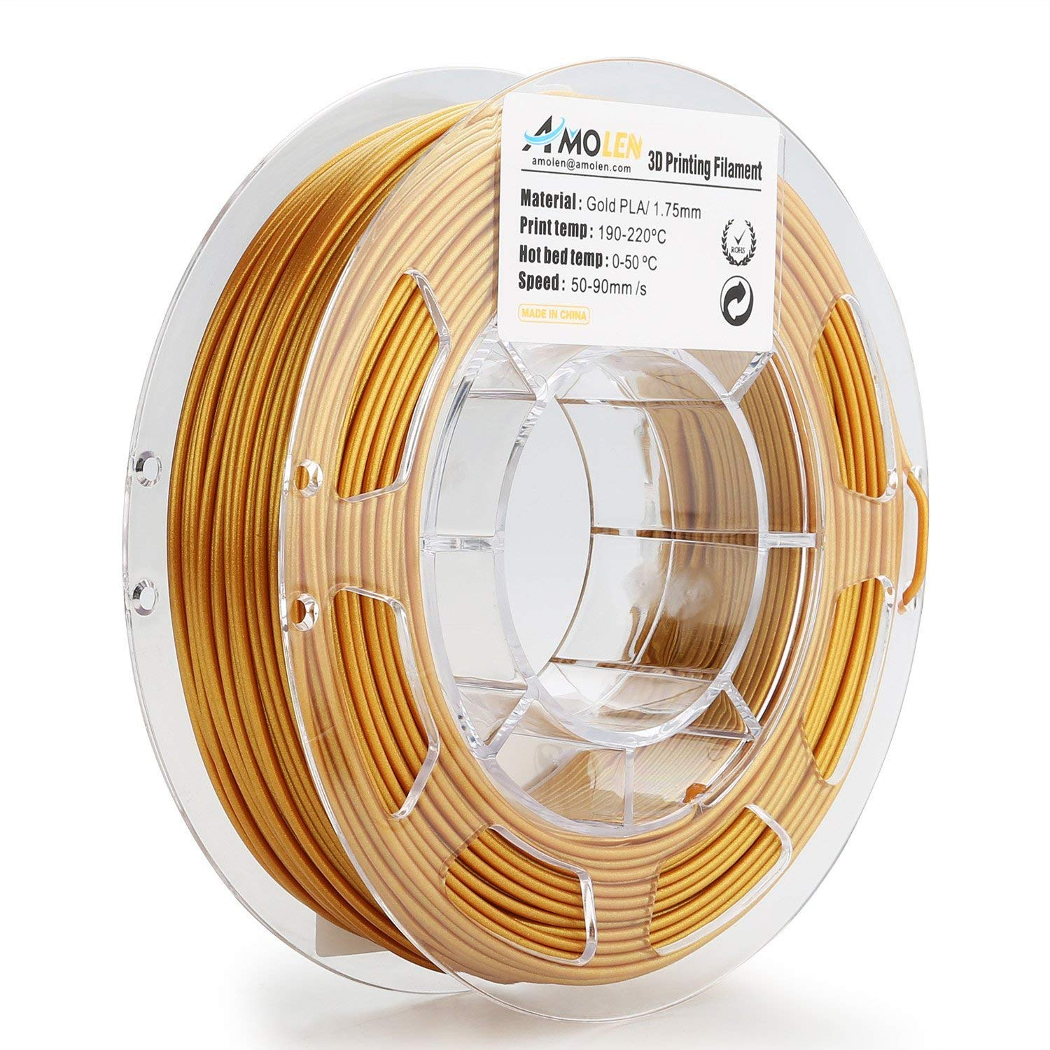 AMOLEN 3D Printer Filament, Real Gold PLA  Filament  1.75mm +/-  0.03  mm, 0.44LBS(200G), includes Sample Shining Black Filament. Real Gold PLA Filament 1.75mm +/- 0.03 mm