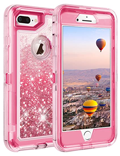 wholesale dealer c8ba3 5c801 Coolden iPhone 8 Plus Case, iPhone 7 Plus Case, 3D Glitter Sparkle Dual  Layer Quicksand Liquid Cover Clear Shockproof Bumper Anti-Drop PC Frame +  TPU ...