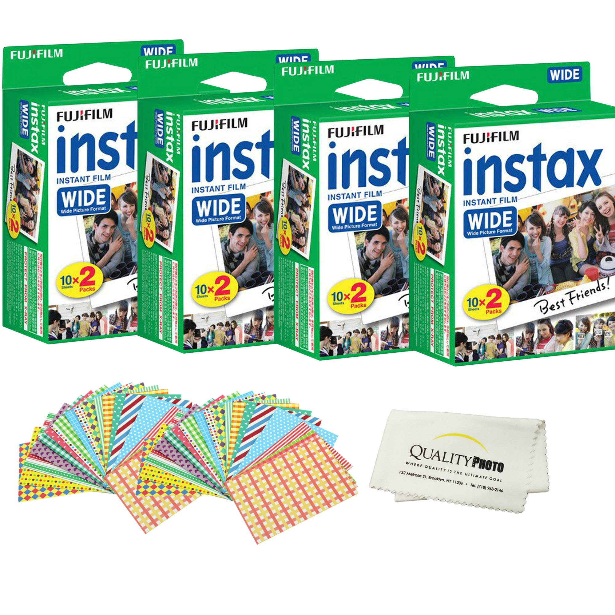 Fujifilm INSTAX Wide Instant Film 80 Pack - 80 Sheets - (White) for Fujifilm Instax Wide Cameras + Frame Stickers and Microfiber Cloth Accessories by Fujifilm