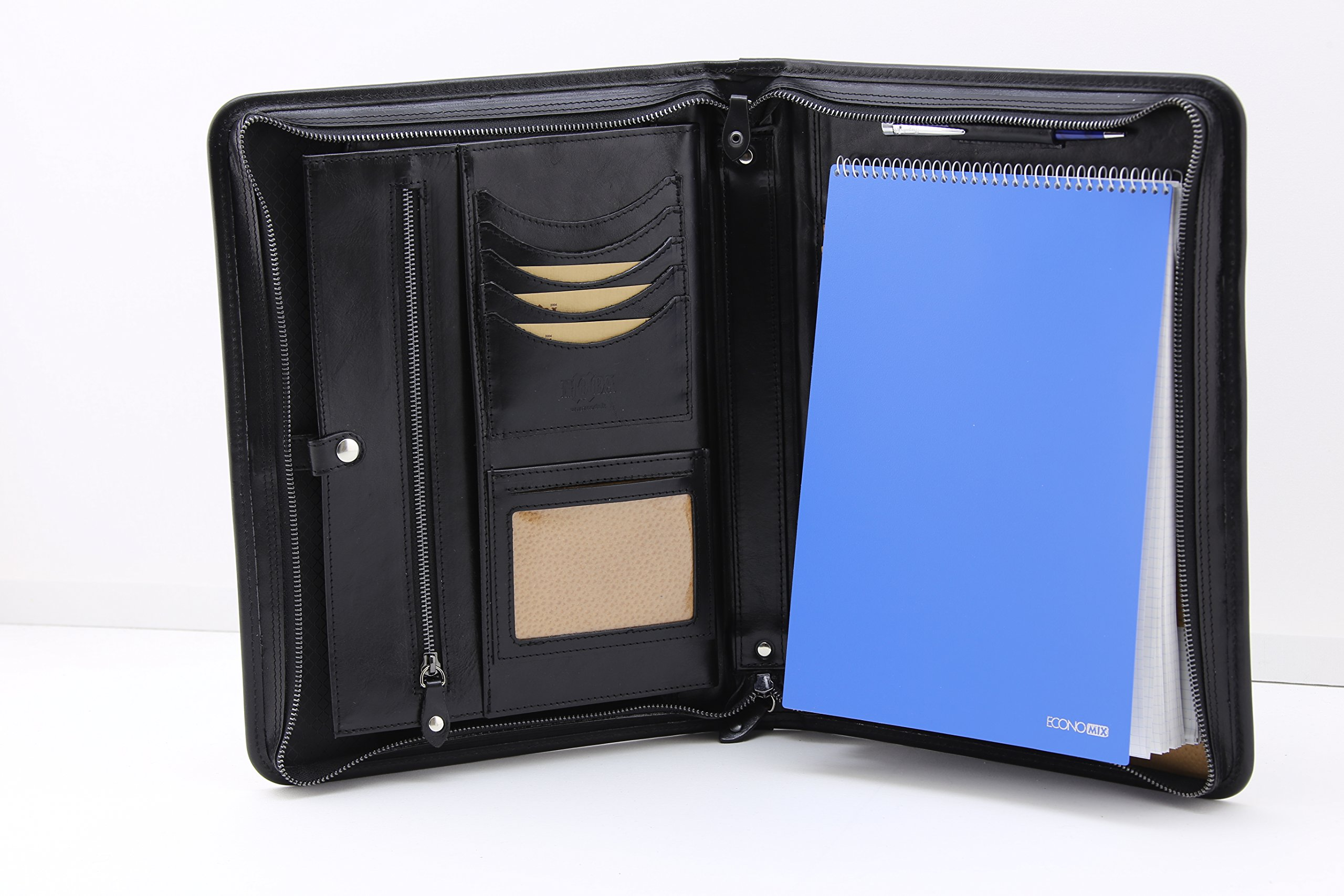 Noda Executive Leather Padfolio (Black) Professional Business Portfolio w/ Zippered Closure | Resume, Document, Notepad, Tablet, Writing Pad Organizer | Men, Women