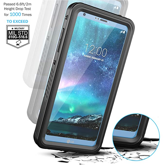 Temdan LG G6 Waterproof Case with Floating Strap Built in Screen Protector Shockproof Full Body Portect Clear Cover Case for LG G6
