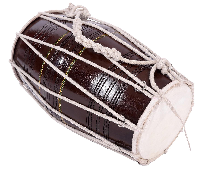 Indian Dholak incl Case Tube Barrel Drum Unit BHARGAVA