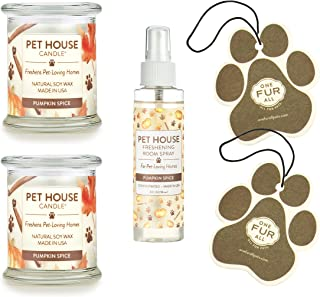 product image for One Fur All 100% Natural Soy Wax Candle, 20 Fragrances - Pet Odor Eliminator, Up to 60 Hours Burn Time, Non-Toxic, Eco-Friendly Reusable Glass Jar Scented Candles (Value Pack, Pumpkin Spice)