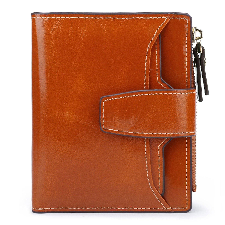 AINIMOER Women's RFID Blocking Leather Small Compact Bi-fold Zipper Pocket Wallet Card Case Purse (Waxed Camel) by AINIMOER