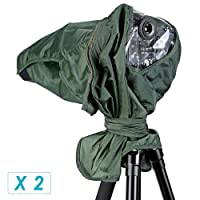 Neewer® 2 Pack Rain Cover Rainproof Camera Protector for Canon Nikon Sony Pentax Olympus Fuji and Other Lens up to 257mm Length and 95mm Lens Diameter DSLR Camera(Green)