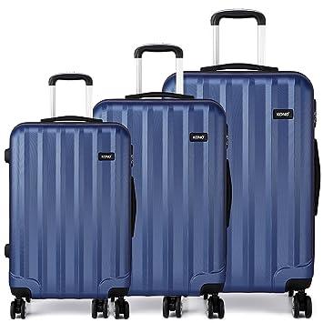 Kono - Juego de 3 piezas para equipaje - Funda rígida de viaje para maleta con rueda giratoria, 4 ruedas, resistente al fuego, ABS: Amazon.es: Equipaje