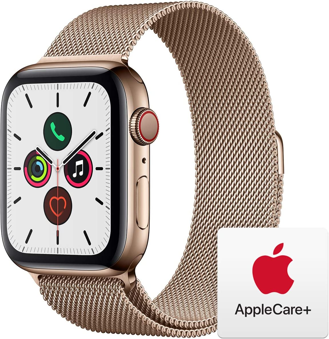 Apple Watch Series 5 (GPS+Cellular, 44mm) - Gold Stainless Steel Case with Gold Milanese Loop with AppleCare+ Bundle