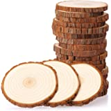 Fuyit Natural Wood Slices 20 Pcs 3.5-4 Inches Unfinished Wood Craft Kit Undrilled Wooden Circles Without Hole Tree Slice with