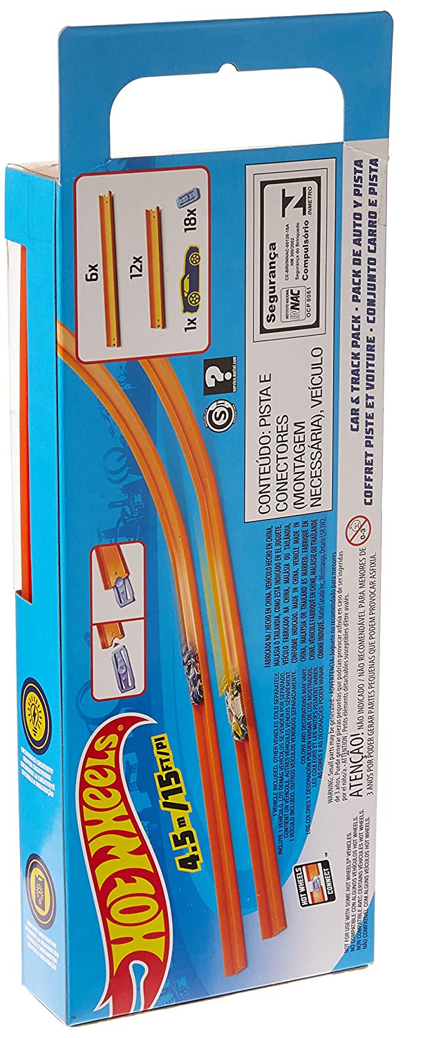 15 Feet Hot Wheels Track Builder Straight Track with Car Styles May Vary