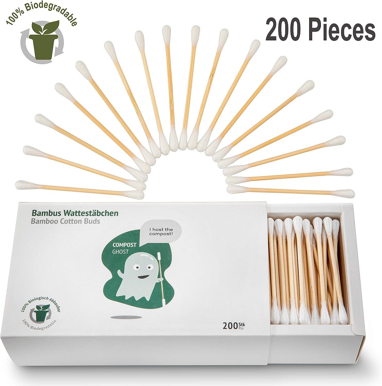 Compost Ghost Bastoncillos de Algodón [200] 100% Biodegradables de ...