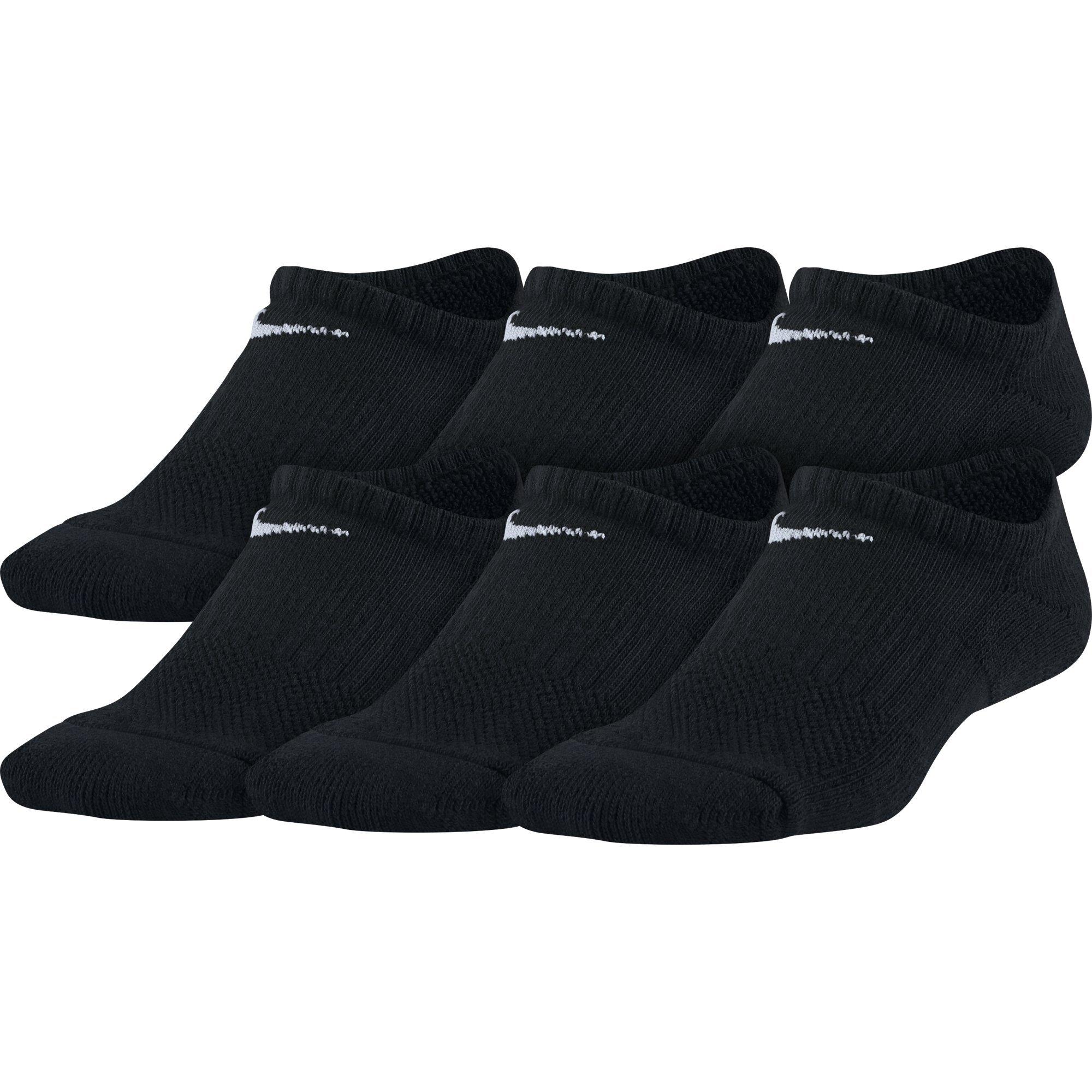 NIKE Kids' Unisex Everyday Cushioned No-Show Socks (6 Pair), Black/White, Small