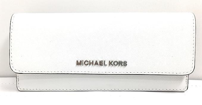 426903b2e35f Michael Kors Jet Set Travel Flat Saffiano Leather Wallet (Optic White)