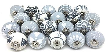 Set of 20 Mixed Grey White Cream Vintage Look Ceramic Cupboard