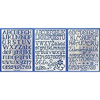 Aleks Melnyk #45 Metal Stencils/Small Letter Cursive, Alphabet, Number, ABC - 1 inch/Stainless Steel Stencils Kit 3 PCS…