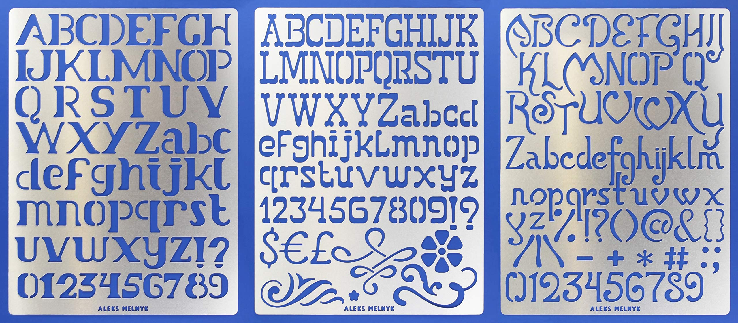 Aleks Melnyk #45 Metal Journal Stencils/Alphabet Letter Number, ABC - 1 inch/Stainless Steel Stencils Kit 3 PCS/Templates Tool for Wood Burning, Pyrography and Engraving/Scrapbooking/Crafting/DIY by Aleks Melnyk