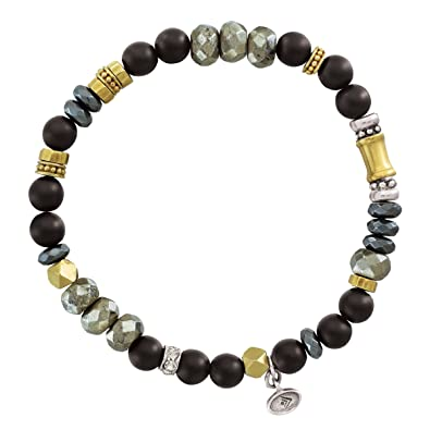0f26880f6 Amazon.com: Silpada 'Sightseer' Natural Agate Stretch Bead Bracelet with  Swarovski Crystals in Sterling Silver and Brass, 6.75