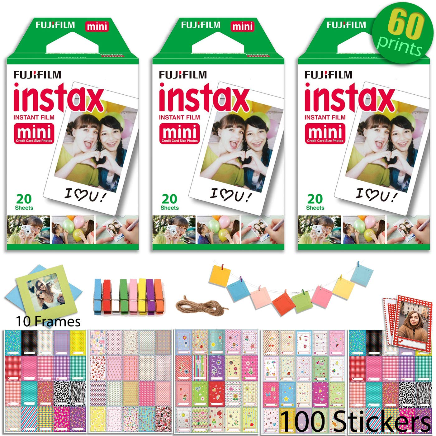 Fujifilm INSTAX Mini Instant Film 3 x Twin Pack (White) 60 Prints with 100 Frame Stickers and 10 Hanging Frames by Fujifilm (Image #1)