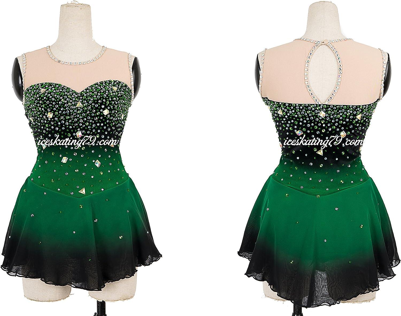 Amazon Com Ice Skating Dress Girl Custom Figure Skating Clothe Twirling Leotard Baton Custom Women Dark Green Clothing
