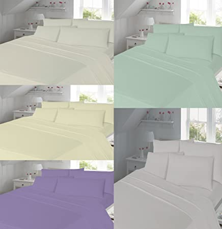 Nice LUXURY Thermal Flannelette 100% Brushed Cotton Fitted ,Flat Bed Sheets  Pillowcase Sets (Lilac