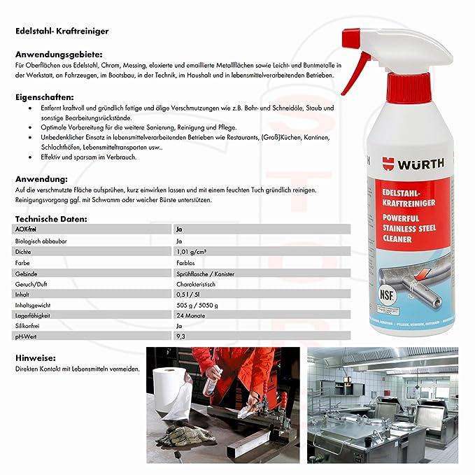 Acero inoxidable Fuerza - Limpiador 500 Ml - Especial Fluid para vorreinigung de limpieza de superficies de metal. NSF Certificado.
