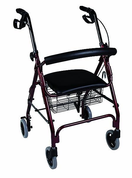Herdegen - Andador rollator caminador con asiento y 4 ruedas; hecho de aluminio y con
