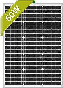 Newpowa 60W 24V Monocrystalline Solar Panel Designed for 24V Charge System Off Grid