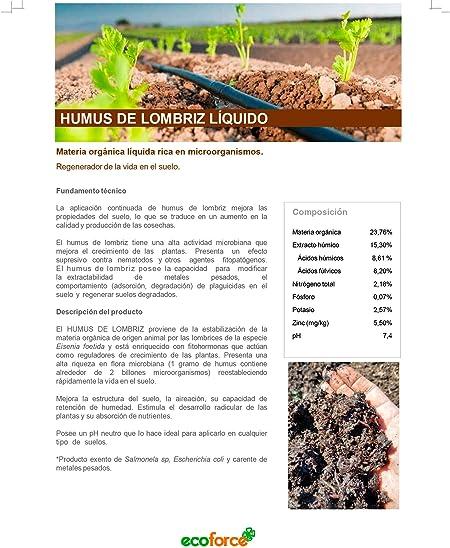 CULTIVERS Humus Líquido de Lombriz Ecológico de 20 l. Materia Orgánica Rica en Microorganismos. Regenerador de la Vida del Suelo. Aumenta la Calidad y producción de Las cosechas.: Amazon.es: Jardín