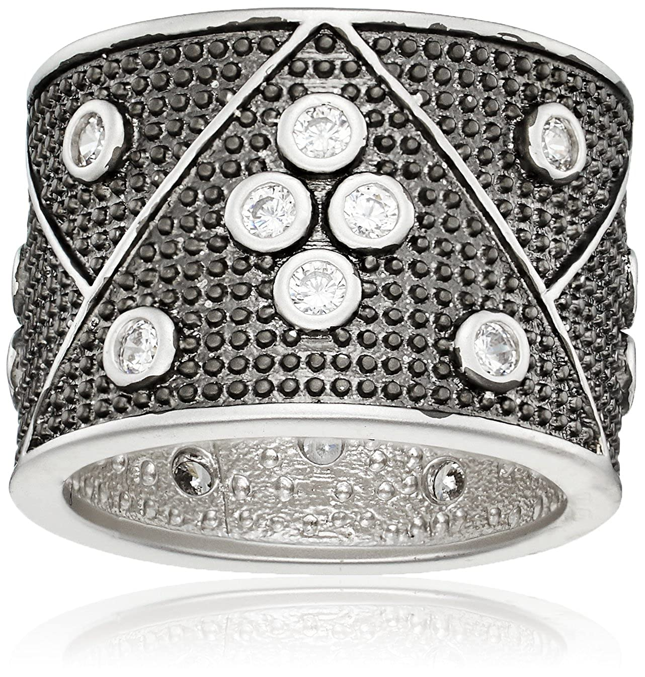 Freida Rothman Womens Signature Industrial Finish Wide Band Ring Black & White Size 6 IFPKZR06-6