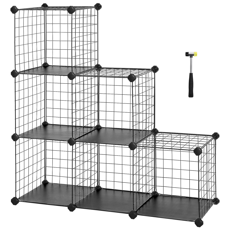Amazon.com: SONGMICS 6-Cube Metal Wire Storage Organizer, DIY Closet ...