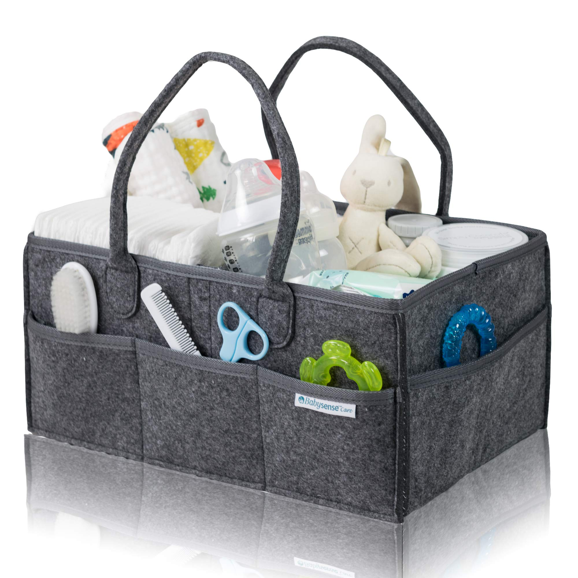 Baby Diaper Caddy Organizer Large by Babysense Care | Foldable Basket Nursery Essentials Storage Bin for Changing Table | Car Travel Portable Holder Bag ● Dark Grey by Babysense